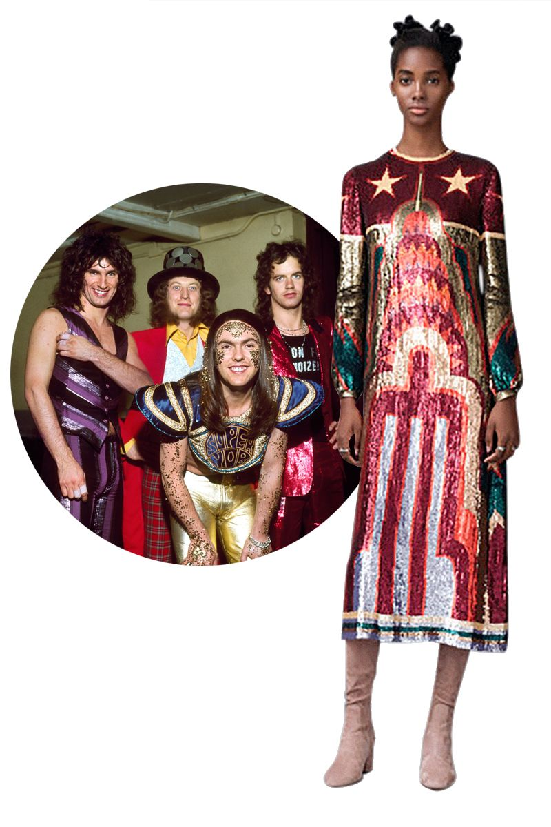 """<p><strong>Slade</strong> was the biggest-selling band in England in the early '70s&#x3B; their hijinks and costumes are said to have inspired everyone: the Ramones, the Sex Pistols, the Clash, Nirvana, and Kiss. For prefall, <strong>Valentino</strong>'s Maria Grazia Chiuri and Pierpaolo Piccioli showed a roxy-foxy Chrysler Building dress that will add shimmer to any """"skweeze me, pleeze me"""" night.</p>"""