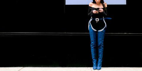 Sleeve, Denim, Jeans, Textile, Standing, Fashion, Pocket, Street fashion, Electric blue, Cobalt blue,