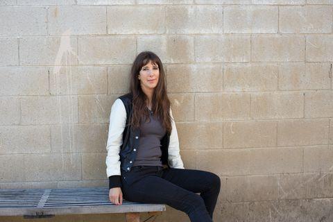Denim, Sitting, Jeans, Wall, Brick, Style, Jacket, Street fashion, Beauty, Knee,