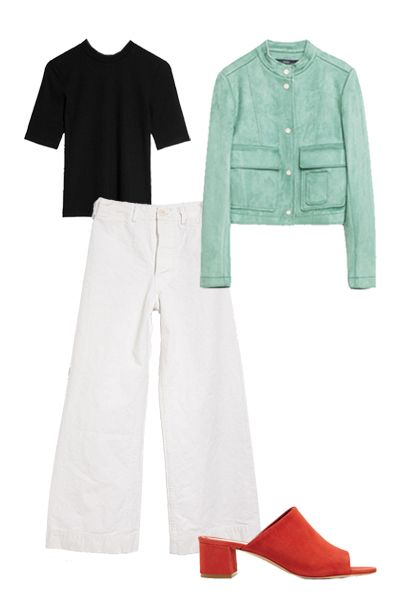 """<p>A pair of sailor pants is a great alternative to wide leg jeans, which you're no doubt seeing everywhere right now. They have a similarly relaxed silhouette, but manage to look a bit more polished. Add a ribbed top and lady like jacket for extra polish. </p><p><em>And Other Stories Ribber Top, $39; <a href=""""http://www.stories.com/us/Ready-to-wear/Tops/Ribbed_Top/582942-103002399.1"""">stories.com</a></em></p><p><em>Zara Suede Effect Jacket, $100; <a href=""""http://www.zara.com/us/en/woman/outerwear/jackets/suede-effect-jacket-c798508p3289651.html"""">zara.com</a></em></p><p><em>Jesse Kamm Sailor Pant, $395; <a href=""""http://needsupply.com/womens/clothing/bottoms/sailor-pant-2.html"""">needsupply.com</a></em></p><p><em>Mansur Gavriel Suede Mules, $475; <a href=""""https://www.net-a-porter.com/us/en/product/678213?cm_mmc=ProductSearchUS_PLA_c-_-GOOGLE-Mansur%20Gavriel-_-Shoes-Sandals-Mid%20Heel-_-162743520275_678213-095&gclid=CjwKEAjw9OG4BRDJzY3jrMng4iQSJABddor1uV7ud_aKZlXkWuVMOi_lbjiVuXFDsEGsznqp0M376BoC6djw_wcB"""">net-a-porter.com</a></em></p>"""
