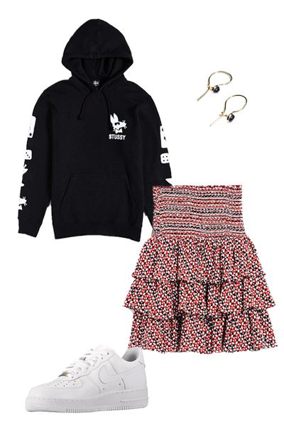 """<p>I love the tomboy spirt of jeans, but sometimes it can be fun to mix in more feminine pieces, too. A ruffle skirt feels less girly-girl when it's paired with a hoodie and sneakers.</p><p><em>Stussy Paid Rat Hoodie Sweatshirt, $69; <a href=""""http://www.urbanoutfitters.com/urban/catalog/productdetail.jsp?id=36998987&category=BRANDS"""">urbanoutfitters.com</a></em></p><p><em>And Other Stories Delicate Gemstone Earrings, $19; <a href=""""http://www.stories.com/us/Jewellery/Earrings/Delicate_Gemstone_Earrings/582808-102592558.1"""">stories.com</a></em></p><p><em>Maje Jalao Printed Ruffle Skirt, $220; <a href=""""http://us.maje.com/en/skirts-and-shorts/skirts/jalao/E16JALAO.html"""">maje.com</a></em></p><p><em>Nike Air Force 1 Low, $90; </em><a href=""""http://store.nike.com/us/en_us/pd/air-force-1-07-shoe/pid-10005880/pgid-10097219""""><em>nike.com</em></a></p><p><br></p>"""