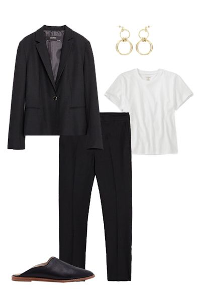 "<p>Make it cool and not as stuffy by mixing it with flats, a simple tee, and statement earrings. </p><p><em>Zara Basic Blazer, $50; <a href=""http://www.zara.com/us/en/woman/blazers/basic-blazer-c797504p3252631.html"">zara.com</a></em></p><p><em>Zara Chino Trousers, $30; <a href=""http://www.zara.com/us/en/woman/trousers/smart/chino-trousers-c401020p3211026.html"">zara.com</a></em></p><p><em>L.L. Bean Saturday T-Shirt, $20; <a href=""http://www.llbean.com/llb/shop/76887?page=saturday-t-shirt-short-sleeve-crewneck"">llbean.com</a></em></p><p><em>Justine Clenquet Alice Earrings, $90; <a href=""https://www.openingceremony.com/products.asp?menuid=2&designerid=3394&productid=159594"">openingceremony.com</a></em><em><a href=""https://www.openingceremony.com/products.asp?menuid=2&designerid=3394&productid=159594""></a></em><br></p><p><em>Dolce Vita Tia Flats, $130; <a href=""http://www.dolcevita.com/tia-flats/d/2626C9075?CategoryId=102"">dolcevita.com</a></em></p>"