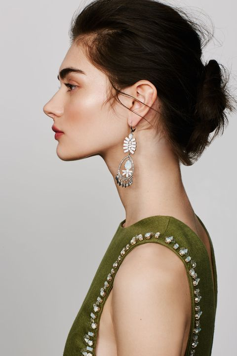 "<p>Play up an embellished top with equally dazzling earrings.  </p><p><br></p><p><br></p><p>Kent & King Crystal Chandelier Earrings, $24, <a href=""http://shop.nordstrom.com/c/jewelry/kent---king~12525/statement?&cm_mmc=Mindshare_Nordstrom-_-MayCorp-_-Hearst-_-proactive"" target=""_blank"">nordstrom.com</a>; Tory Burch 'Rachel' Embellished Linen Tabard Tank, $895, <a href=""http://shop.nordstrom.com/s/tory-burch-rachel-embellished-linen-tabard-tank/4256583?&cm_mmc=Mindshare_Nordstrom-_-MayCorp-_-Hearst-_-proactive"" target=""_blank"">nordstrom.com</a></p>"
