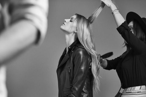 Jacket, Style, Fashion, Leather jacket, Gesture, Long hair, Leather, Step cutting, Monochrome, Blond,