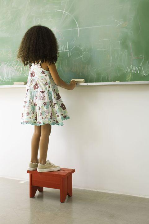 Shoulder, Human leg, Blackboard, Class, Chalk, Classroom, Calf, One-piece garment, Education, Teacher,
