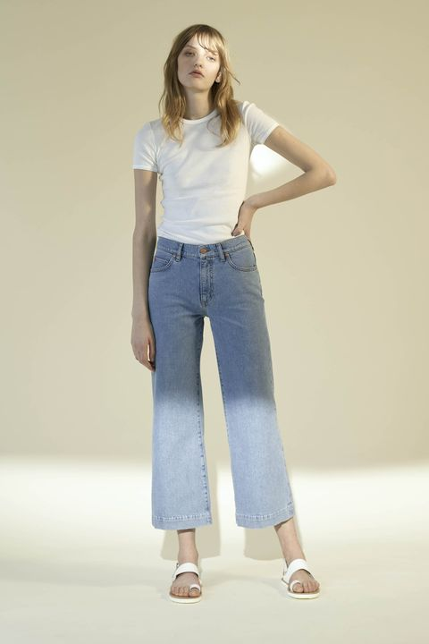 Clothing, Brown, Denim, Sleeve, Shoulder, Textile, Standing, Joint, White, Waist,