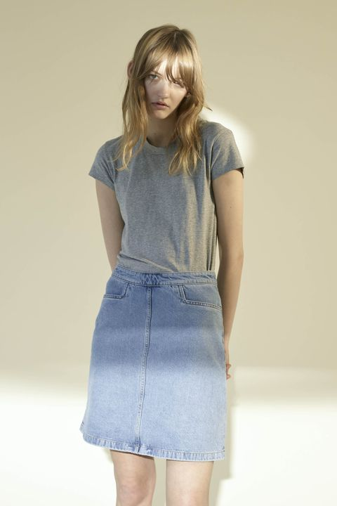 Clothing, Brown, Sleeve, Denim, Shoulder, Textile, Joint, Standing, Waist, Style,