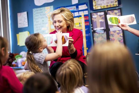 Hillary Clinton with kids.