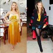 Fashion model, Clothing, Fashion, Yellow, Street fashion, Footwear, Shoulder, Dress, Fashion design, Shoe,