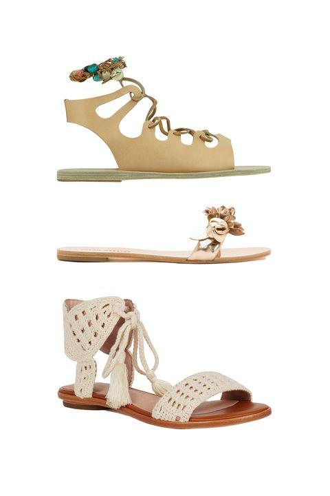 """<p>Ancient Greek Sandals Antigone Stones, $320; <a href=""""http://www.ancient-greek-sandals.com/en/usd/product/1220088/women/Antigone-Stones/"""" target=""""_blank"""">ancient-greek-sandals.com</a></p><p>Sophia Webster Lilico Slide, $325; <a href=""""https://www.sophiawebster.com/product/4928/lilico-slide"""" target=""""_blank"""">sophiawebster.com</a></p><p>Joie Jolee Sandals, $255; <a href=""""http://www.joie.com/jolee-sandals-natural"""" target=""""_blank"""">joie.com</a></p>"""