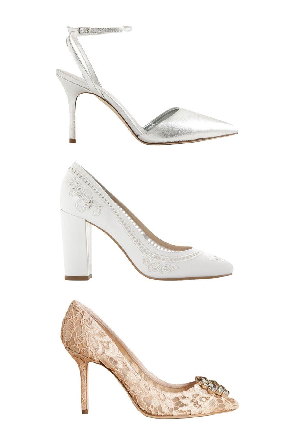 "<p>J. Crew Elsie Metallic Ankle-Wrap Pumps, $245; <a href=""https://www.jcrew.com/womens_category/shoes/pumpsandheels/PRDOVR~F1304/F1304.jsp"" target=""_blank"">jcrew.com</a></p><p><a href=""https://www.jcrew.com/womens_category/shoes/pumpsandheels/PRDOVR~F1304/F1304.jsp"" target=""_blank""></a>Dune London Bethanee, $140; <a href=""http://www.dunelondon.com/en-us/bethanee-embroidered-court-shoe-0084504510001487/"" target=""_blank"">dunelondon.com</a></p><p>Dolce & Gabbana Pumps, $995; <a href=""http://store.dolcegabbana.com/us/dolce-gabbana/closed-toe-slip-ons_cod11002082pf.html"" target=""_blank"">dolceandgabbana.com</a></p>"