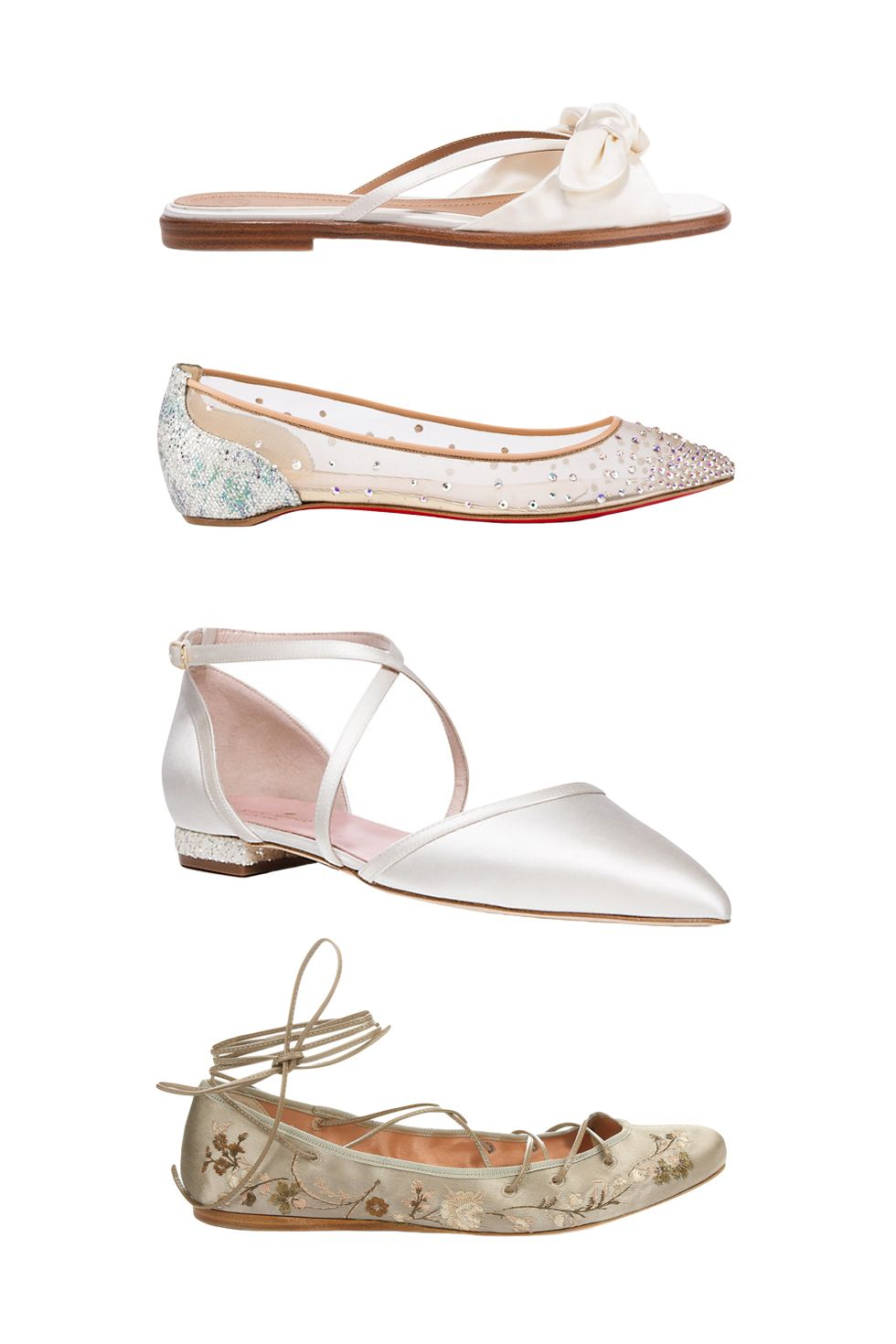 "<p>The Row April Bow-Embellished Silk-Satin Sandals, $795&#x3B; <a href=""https://www.net-a-porter.com/us/en/product/709772/the_row/april-bow-embellished-silk-satin-sandals"" target=""_blank"">net-a-porter.com</a></p><p><a href=""https://www.net-a-porter.com/us/en/product/709772/the_row/april-bow-embellished-silk-satin-sandals"" target=""_blank""></a>Christian Louboutin Body Strass Flat, $995&#x3B; <a href=""http://us.christianlouboutin.com/us_en/shop/women/body-strass-flat-1.html"" target=""_blank"">christianlouboutin.com</a></p><p><a href=""http://us.christianlouboutin.com/us_en/shop/women/body-strass-flat-1.html"" target=""_blank""></a>Kate Spade Britta Flats, $298&#x3B; <a href=""https://www.katespade.com/products/britta-flats/S144022SA.html"" target=""_blank"">katespade.com</a></p><p>Etro Cora Embroiderd Satin Pumps, $1,042&#x3B; <a href=""http://www.matchesfashion.com/us/products/Etro-Cora-embroidered-satin-pumps-1045789"" target=""_blank"">matchesfashion.com</a><br></p>"