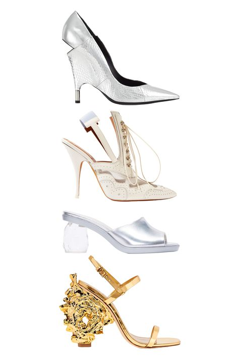 "<p>Tom Ford Metallic Cut-Out Heel Pump, $1,690; <a href=""http://www.tomford.com/metallic-cut-out-heel-pump/W1812T-AMK.html?dwvar_W1812T-AMK_color=SIS#start=3"" target=""_blank"">tomford.com</a></p><p>Givenchy Slingback Mules, $1,050; <a href=""https://www.net-a-porter.com/us/en/product/682630/givenchy/slingback-mules-in-mesh-paneled-white-leather"" target=""_blank"">net-a-porter.com</a></p><p><span style=""line-height: 1.6em; background-color: initial;"">Simone Rocha Silver Chandelier Heels, $910; </span><a href=""https://www.ssense.com/en-us/women/product/simone-rocha/silver-chandelier-heels/1499253?forced_user_country=US&gclid=CKS7v5zH5MwCFUokhgodzo4LkA"" target=""_blank"" style=""line-height: 1.6em; background-color: initial;"">ssense.com</a><br></p><p><a href=""https://www.ssense.com/en-us/women/product/simone-rocha/silver-chandelier-heels/1499253?forced_user_country=US&gclid=CKS7v5zH5MwCFUokhgodzo4LkA"" target=""_blank""></a></p><p>Tory Burch Firenze Metallic Two-Band Sandal, $575; <a href=""https://www.toryburch.com/firenze-metallic-two-band-sandal/21168935.html?cgid=shoes-view-all&dwvar_21168935_color=700&start=109"" target=""_blank"">toryburch.com</a></p>"