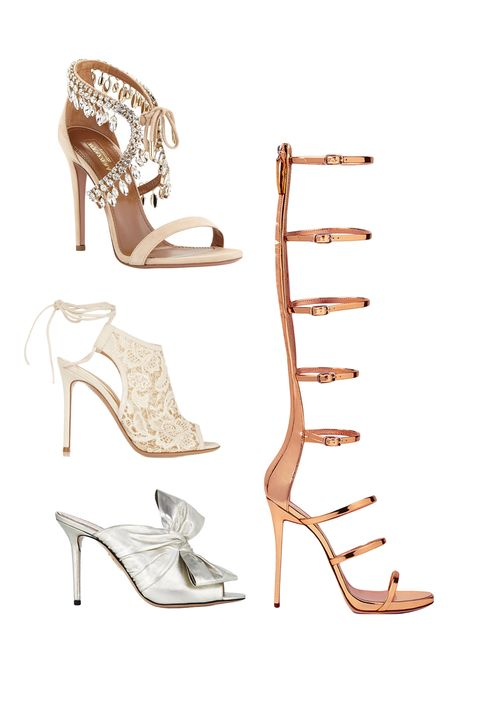 "<p>Aquazzura Milla Jeweled Suede Sandal, $1,695; <a href=""http://www.bergdorfgoodman.com/Aquazzura-Milla-Jeweled-Suede-Sandal-Nude-Evening/prod112630047_cat207102__/p.prod?icid=&searchType=EndecaDrivenCat&rte=%2Fcategory.jsp%3FitemId%3Dcat207102%26pageSize%3D120%26No%3D0%26refinements%3D&eItemId=prod112630047&cmCat=product"" target=""_blank"">bergdorfgoodman.com</a></p><p><a href=""http://www.bergdorfgoodman.com/Aquazzura-Milla-Jeweled-Suede-Sandal-Nude-Evening/prod112630047_cat207102__/p.prod?icid=&searchType=EndecaDrivenCat&rte=%2Fcategory.jsp%3FitemId%3Dcat207102%26pageSize%3D120%26No%3D0%26refinements%3D&eItemId=prod112630047&cmCat=product"" target=""_blank""></a>Gianvito Rossi Macramé and Suede Boots, $945; <a href=""https://www.net-a-porter.com/us/en/product/639384/gianvito_rossi/macrame-and-suede-ankle-boots"" target=""_blank"">net-a-porter.com</a></p><p>Charlotte Olympia Ilona, $745; <a href=""http://us.charlotteolympia.com/collections/cruise-16/ilona/C164618LAM0040.html#cgid=SANDALS&start=6"" target=""_blank"">charlotteolympia.com</a><br></p><p>Giuseppe Zanotti Super Harmony, $1,295; <a href=""http://www.giuseppezanottidesign.com/us/c/SUPER-HARMONY/p/E60049005"" target=""_blank"">giuseppezanottidesign.com</a></p>"