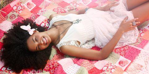 Skin, Textile, Pink, Beauty, Linens, Peach, Model, Embellishment, Day dress, Abdomen,