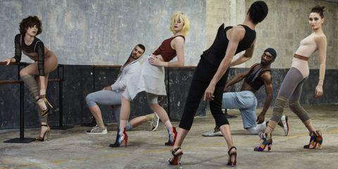Clothing, Footwear, Trousers, Human leg, Social group, Sleeveless shirt, Jeans, Shorts, Athletic shoe, Knee,