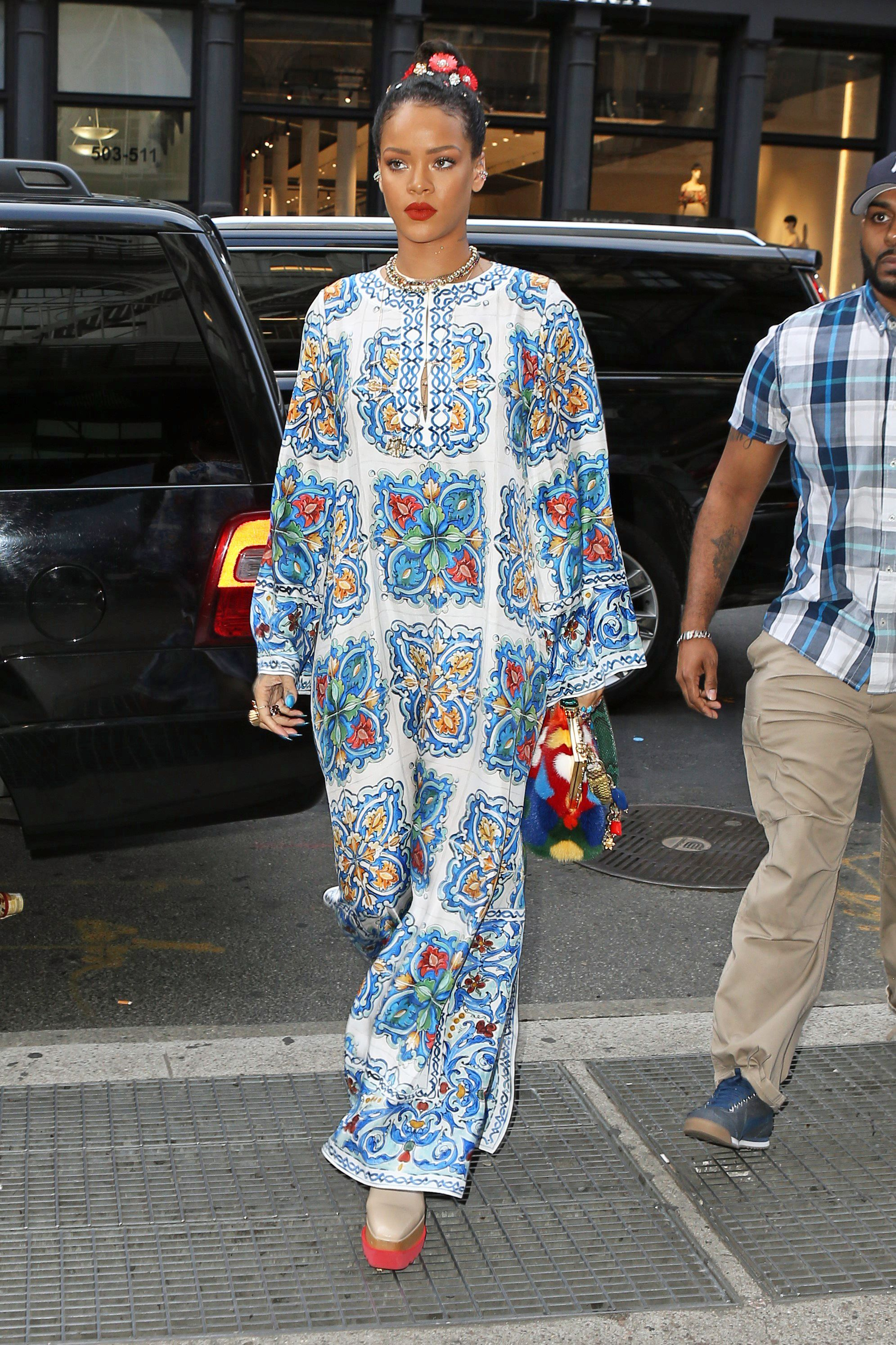 Rihanna in Blue Tulle Molly Goddard Gown - Rihanna Fashion and Style ...