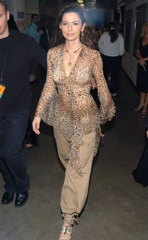 <p>In 2003, when the CMT Music Awards were still called the CMT Flameworthy Video Awards, Shania dressed appropriately flame-<em>emoji</em>-worthy. It's a leopard top, it's a see-through top, it's a see-through leopard top all at the same time.</p>