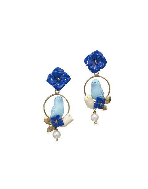 <p>Lapis, turquoise, horn, pearl, and gold vermeil earrings, OF RARE ORIGIN, $870, visit ofrareorigin.com<span></span></p>