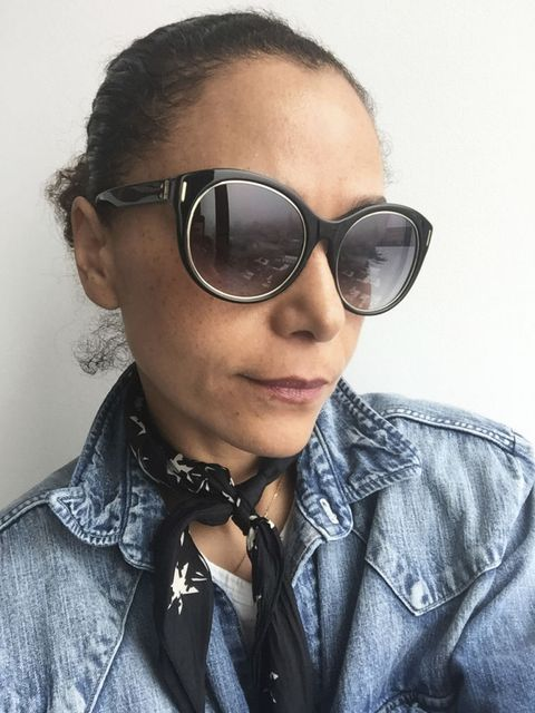"<p>""There are no rules when it comes to eyewear. You have to figure out what works on your face. I like big tortoiseshell frames that hit right at my brows or even cover them, because—TMI?—I have one ear that's higher than the other. Plus, they give me extra SPF!""</p><p><em>Sunglasses, CALVIN KLEIN COLLECTION, $246, visit </em><a target=""_blank"" rel=""noreferrer"" href=""http://calvinklein.com/""><em>calvinklein.com</em></a><span class=""redactor-invisible-space""><br></span></p>"