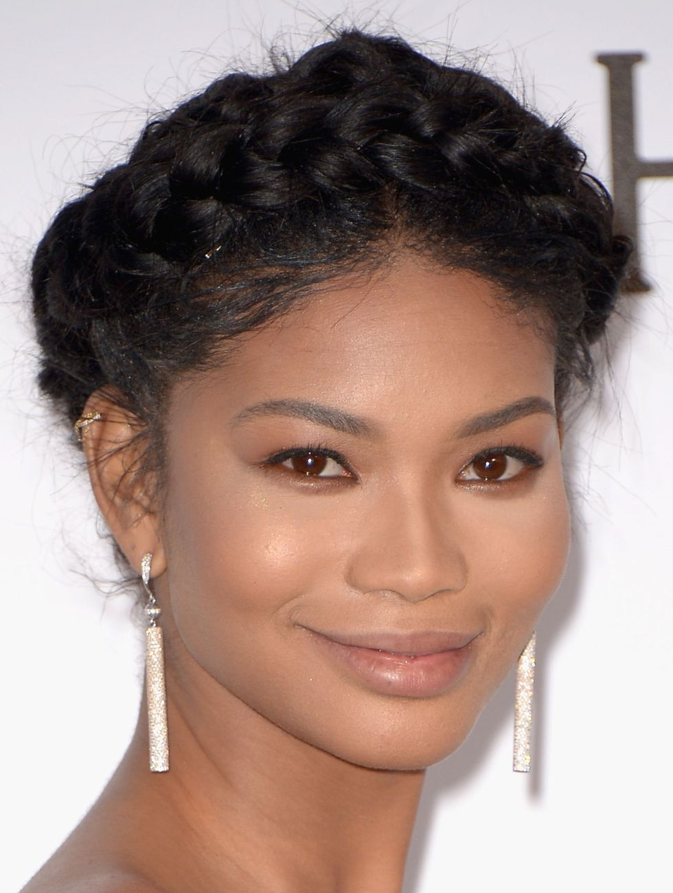 Chanel Iman The supermodel looks elegant in a braided crown fit for the red carpet.