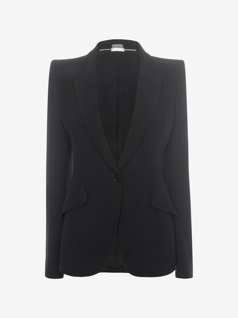 "<p>It does not get better than this McQueen blazer. It works for all chest sizes—which is tough to find in a fitted jacket. If you're going to invest in one black blazer (and you should!) consider this one. <em><a href=""http://www.alexandermcqueen.com/us/alexandermcqueen/tailored-jacket_cod49165509ux.html?gclid=CKbr0caH2MwCFQiJaQodUNMO0w&tp=53598"">Peak shoulder one button jacket, $1.995</a>.  </em></p>"