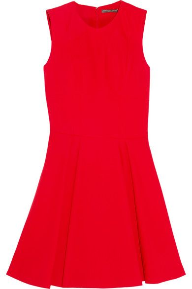 """<p>You've got the LBD. Try the LRD (little red dress), too, for a necessary jolt of color. This is a silhouette that works for every body type. <a href=""""https://www.net-a-porter.com/us/en/product/683308/alexander_mcqueen/pleated-wool-and-silk-blend-mini-dress""""><em>Alexander McQueen pleated mini dress, $1,248.</em></a> </p>"""