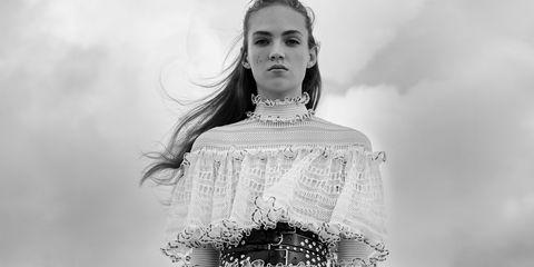 Eyelash, Embellishment, Lace, Fashion design, Portrait photography, Sweater, Woolen, Makeover, Model, Fashion model,