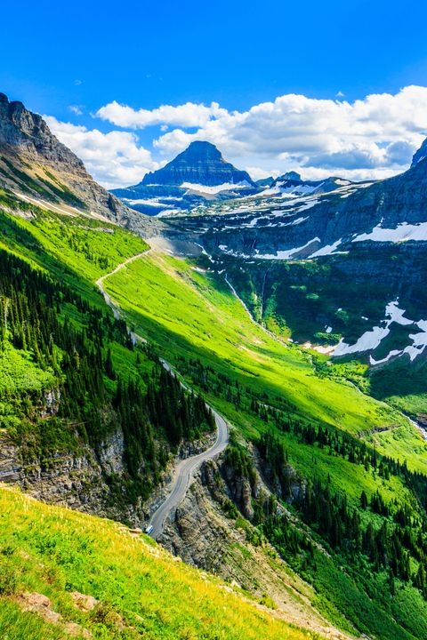 Stunning vista along Highline trail in Glacier National Park, Montana USA.