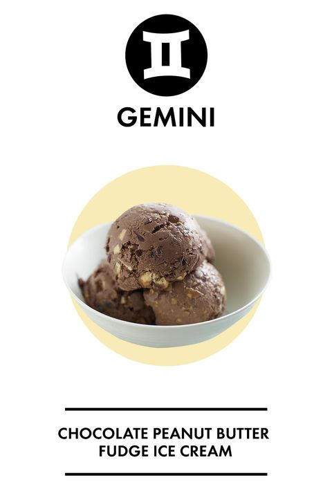"""<p>As the twins, Gemini needs something that will offer more than one perspective. When faced with choosing between chocolate ice cream or peanut butter ice cream, you ask, """"why not both?"""" You like to experience all life has to offer, and chocolate peanut butter fudge ice cream will do that for you. </p>"""