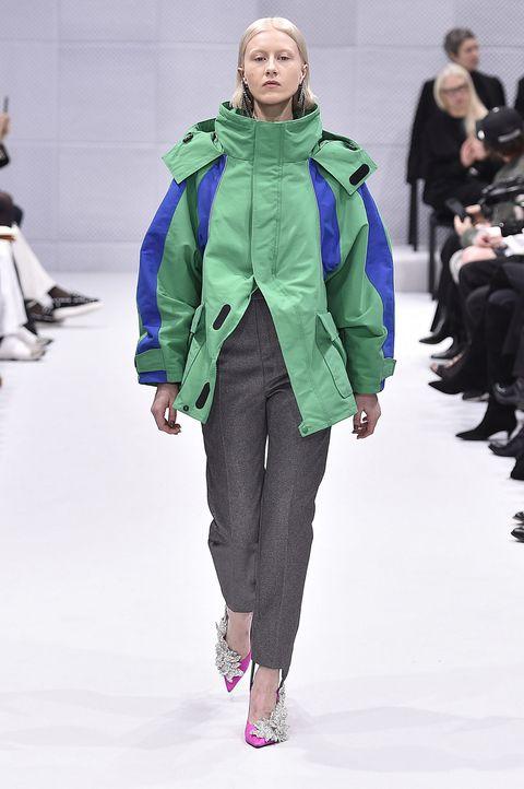Trousers, Jacket, Outerwear, Winter, Fashion show, Style, Street fashion, Fashion, Bag, Magenta,