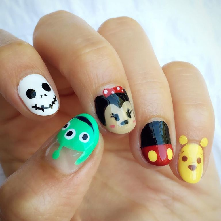 <p>Character face designs actually look better on short nails. Paint your  nail - Best Nail Art For Short Nails - 15 Short Nail Art Designs