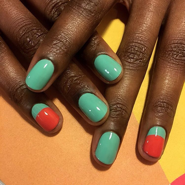 """<p>This minimal watermelon design used shades from Jin Soon's <a href=""""https://www.amazon.com/JINsoon-Painted-Collection-Lacquer-Sinopia/dp/B01AHOFHLK"""" target=""""_blank"""">Painted Ladies Collection.</a> Paint each finger in the green Keppel shade, but only paint your ring finger at the half moon. Fill the rest of it with the red-orange Sinopia polish. Let dry, then finish with a clear coat. </p><p>Design by <a href=""""https://www.instagram.com/p/BDOWMdWqRgm/"""" target=""""_blank"""">@jinsoon</a></p>"""