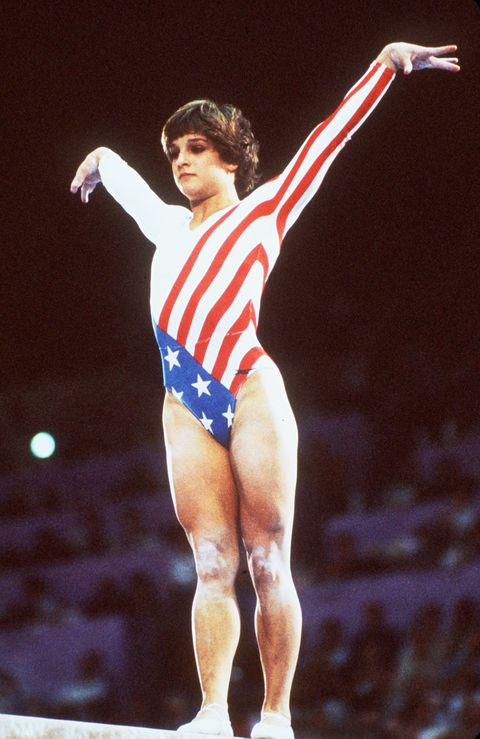 Mary Lou Retton of the US performs her routine on the balance beam during the Olympic women's individual final by apparatus 06 August 1984 in Los Angeles. (Photo credit should read STAFF/AFP/GettyImages)