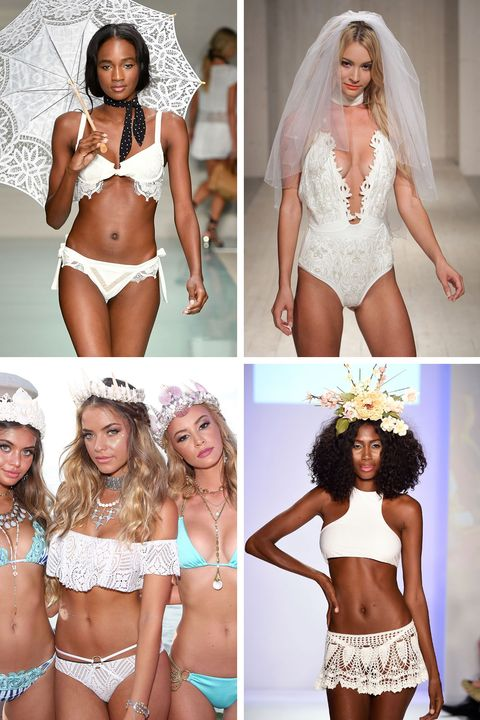 """<p><a href=""""http://www.cosmopolitan.com/style-beauty/fashion/advice/a6726/ways-to-wear-bridal-bikinis/"""">Lacy and white</a> — perfect for the tropical honeymoon of your dreams.</p><p><em>Clockwise from top left: For Love & Lemons, Beach Riot, Baes and Bikinis, Beach Bunny</em></p>"""