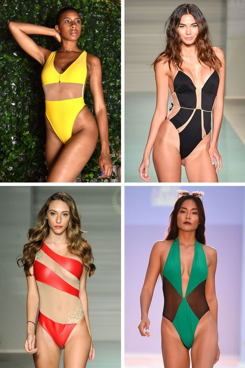 """<p>Bold colors and graphic shapes combine to make some seriously sexy one-pieces. <br></p><p><em>Clockwise from top left: <span class=""""redactor-invisible-space"""">G Saints, For Love & Lemons, Filthy Haanz, Cirone Swim</span></em></p>"""