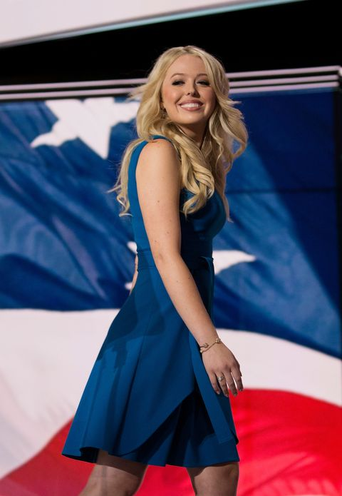 <p>Tiffany Trump, daughter of Republican Presidential candidate Donald Trump, exiting the stage after giving a speech. </p>