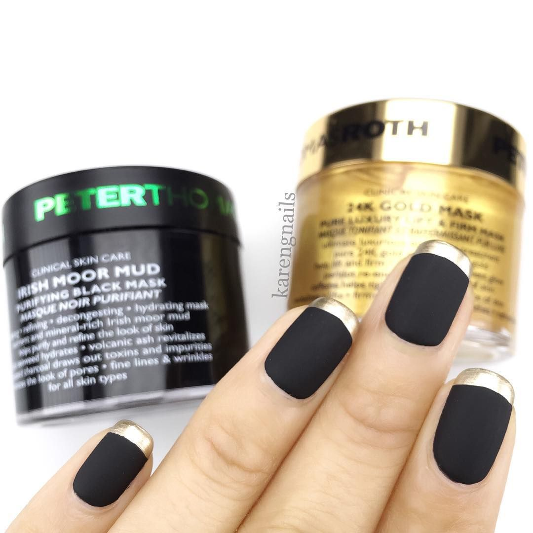 """<p>For this look, start with a matte black nail. Add a metallic gold lacquer to your tips for a glam, but minimal design. </p><p>Design by <a href=""""https://www.instagram.com/p/BHLXPgTg3Pv/"""" target=""""_blank"""">@karengnails</a></p>"""