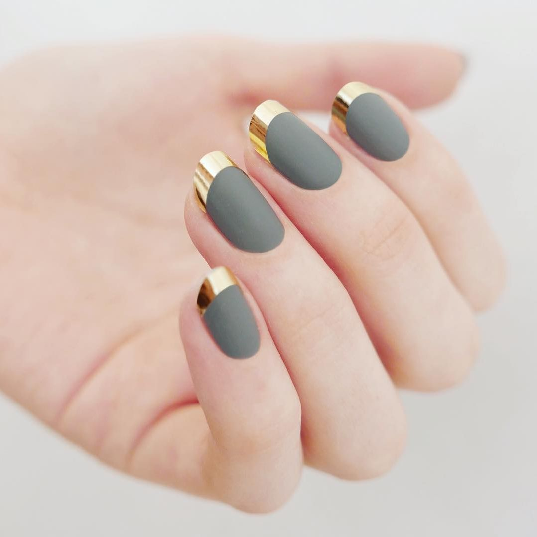 """<p>If you want a higher contrast, apply chrome nail tape to your tips instead of polish.</p><p>Design by <a href=""""https://www.instagram.com/p/BIArN94DBkX/"""" target=""""_blank"""">@mpnails</a></p>"""