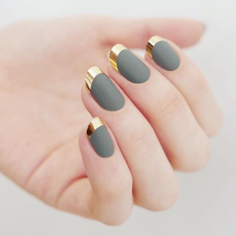 <p>If you want a higher contrast, apply chrome nail tape to your - 17 Cute Looks For Matte Nails - Best Matte Nail Polish Designs