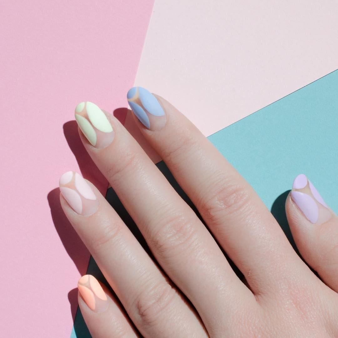 """<p>On the opposite side of the color spectrum is the matte pastel, seen here in a negative nail design.</p><p>Design by <a href=""""https://www.instagram.com/p/BDNFGAxyBBf/"""" target=""""_blank"""">@palemoonseattle</a><br></p>"""