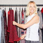 Textile, Clothes hanger, Fashion, Blond, Fashion design, Lipstick, Closet, Boutique, Collection, Wardrobe,