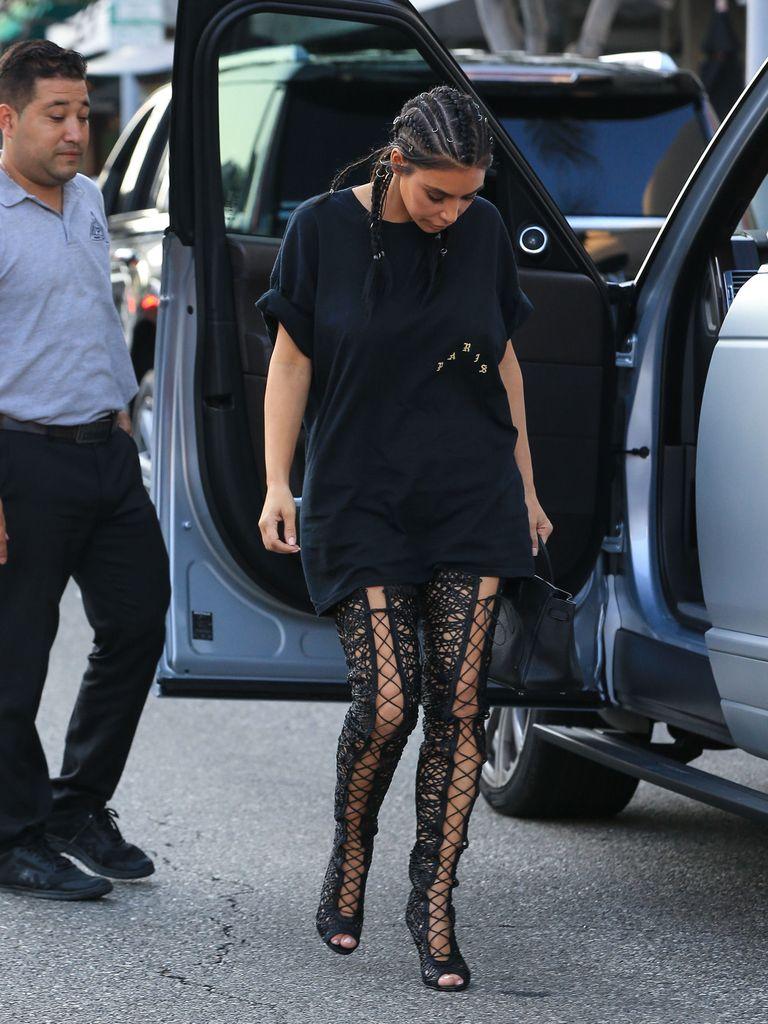 Kim Kardashian Wears Thigh-High Boots - Kim Kardaishan Lace Boot Pants Outfit-6571