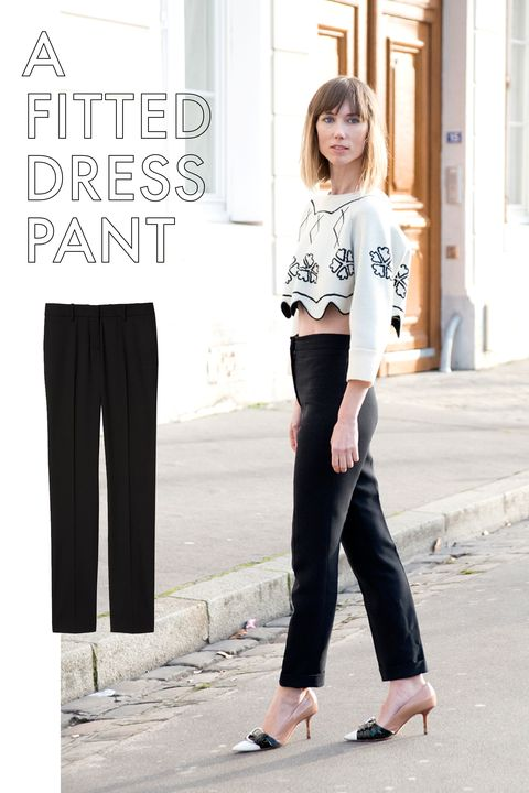 "<p>There are tons of trendy pant styles that I have embraced: track pants, bell bottoms, boyfriend jeans. But there's nothing more tried and true—and appropriate for any occasion—than a well fitted dress pant. Yes, like the pair your parents bought you for your first job interview. Get them tailored.<br></p><p><em>Theory Italian Stretch Wool Slim Pant, $275; <a href=""http://www.theory.com/super-slim/F0001212.html?dwvar_F0001212_color=001&cgid=#start=16""></a></em><a href=""http://www.theory.com/super-slim/F0001212.html?dwvar_F0001212_color=001&cgid=#start=16"" target=""_blank""><em>theory.com</em></a></p>"
