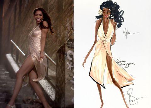 Jeriana San Juan S Sketch Of Mylene Played By Herizen F Guardiola In The Halston Inspired Dress