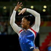 Sportswear, Competition event, Gymnastics, Championship, Gesture, Artistic gymnastics, Athlete, Celebrating, Stadium, Individual sports,