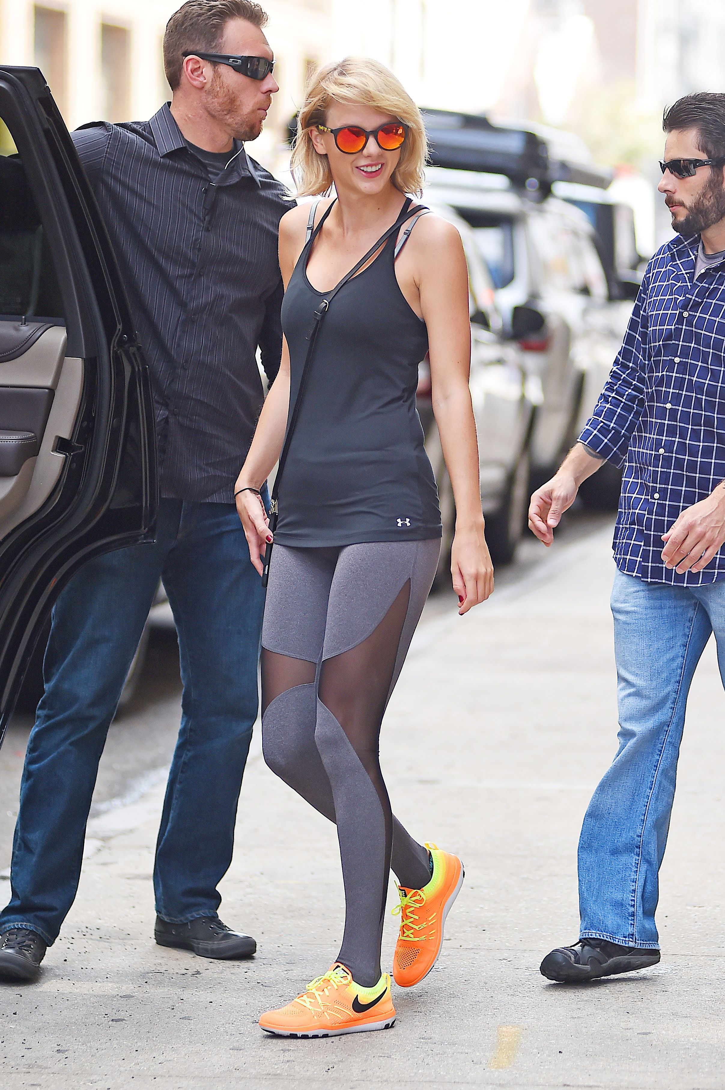 Taylor Swift in Denim Crop Top and Shorts , Fashion and