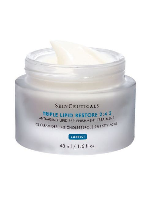 """<p>The secret to healthy skin lies in the integrity of its barrier, which operates best at a pH of 5.5. If disrupted, the skin can't self-repair, loses water, looks dull, and is more prone to irritation. The 2:4:2 is one of only a few barrier creams that contain all three of the lipids essential for maximizing repair (cholesterol, ceramides, and fatty acids).</p><p><em data-redactor-tag=""""em"""">TIP: Apply before retinols to reduce inflammation.</em></p><p>SkinCeuticals Triple Lipid Restore 2:4:2, $125&#x3B; <a href=""""http://www.skinceuticals.com/triple-lipid-restore-2%3A4%3A2-3606000434967.html"""" target=""""_blank""""><span id=""""selection-marker-1"""" class=""""redactor-selection-marker"""" data-verified=""""redactor"""" data-redactor-tag=""""span"""" data-redactor-class=""""redactor-selection-marker""""></span>skinceuticals.com<span id=""""selection-marker-2"""" class=""""redactor-selection-marker"""" data-verified=""""redactor"""" data-redactor-tag=""""span"""" data-redactor-class=""""redactor-selection-marker""""></span></a></p>"""