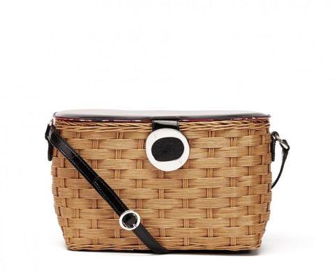 "<p>Frances Valentine Pippa Wicker Leather Bag, $155&#x3B; <a href=""https://francesvalentine.com/shop/pippa-wicker-patent-leather-bag-black"">francesvalentine.com</a></p>"