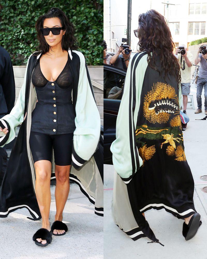 Kim Kardashian In Hoodie And Biker Shorts Kim Kardashian Fashion